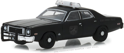 GreenLight 1/64 Black Bandit Series 20 - 1975 Plymouth Fury Black Bandit Police Solid Pack  - #27960-D