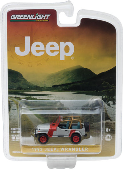GreenLight 1/64 1993 Jeep Wrangler YJ - Red and Grey (Hobby Exclusive) #29856
