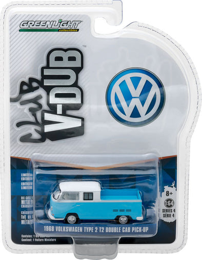 GreenLight 1/64 Club Vee-Dub Series 4 - 1968 Volkswagen T2 Type 2 Double Cab Pick-Up Solid Pack  #29860-C