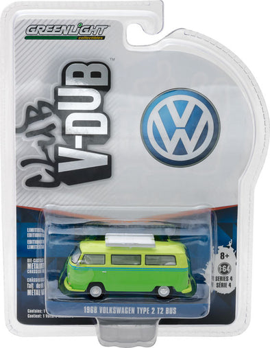 GreenLight 1/64 Club Vee-Dub Series 4 - 1969 Volkswagen T2 Type 2 with Roof Rack Solid Pack  #29860-E