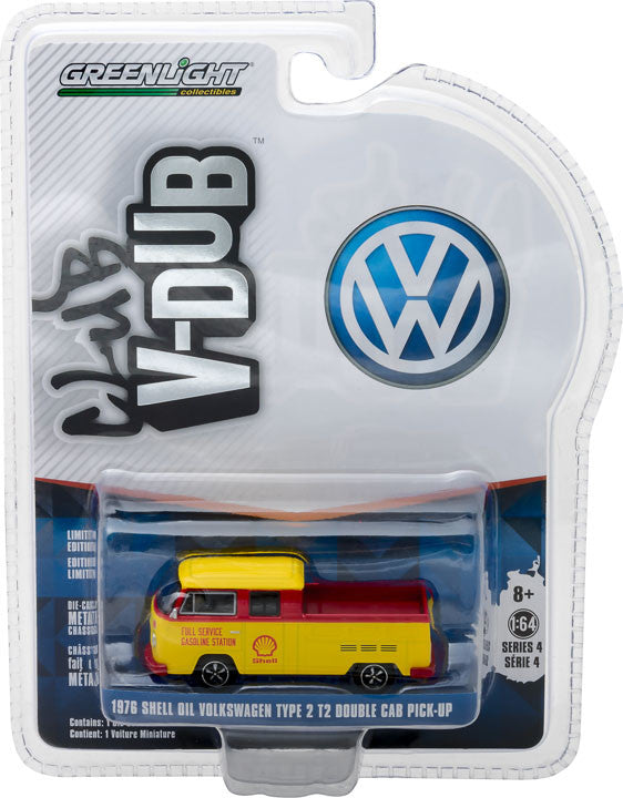 GreenLight 1/64 Club Vee-Dub Series 4 - 1976 Volkswagen T2 Type 2 Double Cab Pick-Up - Shell Oil Solid Pack  #29860-F