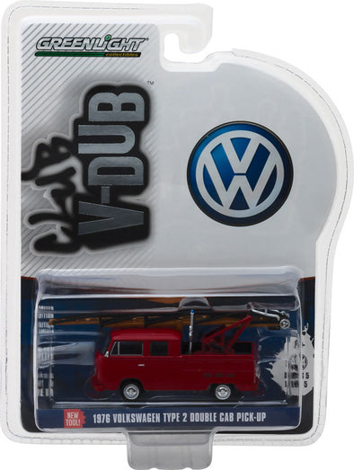GreenLight 1/64 Club Vee-Dub Series 5 - 1976 Volkswagen Type 2 Double Cab Pickup Ladder Truck Solid Pack  #29870-E