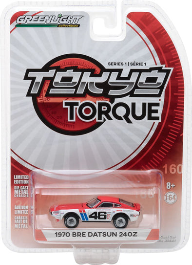 GreenLight 1/64 Tokyo Torque Series 1 - 1970 Datsun 240Z - #46 Brock Racing Enterprises (BRE) - John Morton Solid Pack #29880-A