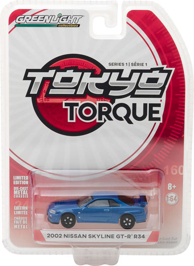 GreenLight 1/64 Tokyo Torque Series 1 - 2002 Nissan Skyline GT-R (R34) - Bayside Blue Solid Pack #29880-E