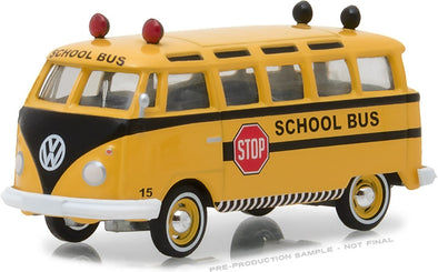 "GreenLight 1/64 Club Vee-Dub Series 6 - 1964 Volkswagen Samba Bus ""School Bus"" Solid Pack #29890-B"