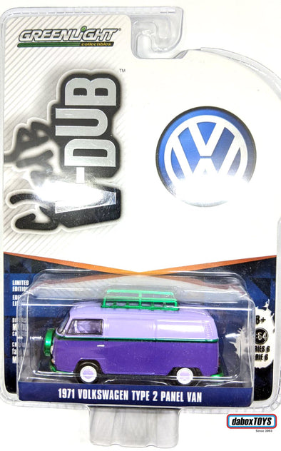 """GREEN MACHINE"" GreenLight 1/64 Club Vee-Dub Series 6 - 1971 Volkswagen Type 2 Panel Van with Roof Rack Solid Pack #29890-C"