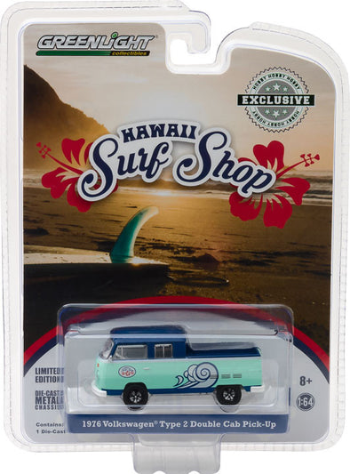 "GreenLight 1/64 Volkswagen Type 2 Double Cab Pick-Up ""Doka"" - Hawaii Surf Shop (Hobby Exclusive) #29894"