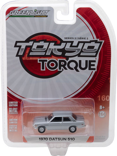 GreenLight 1/64 Tokyo Torque Series 2 - 1970 Datsun 510 - Silver Solid Pack #29900-B