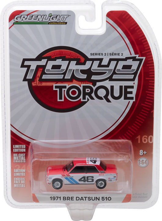 GreenLight 1/64 Tokyo Torque Series 2 - 1971 Datsun 510 - #46 Brock Racing Enterprises (BRE) - John Morton Solid Pack #29900-C