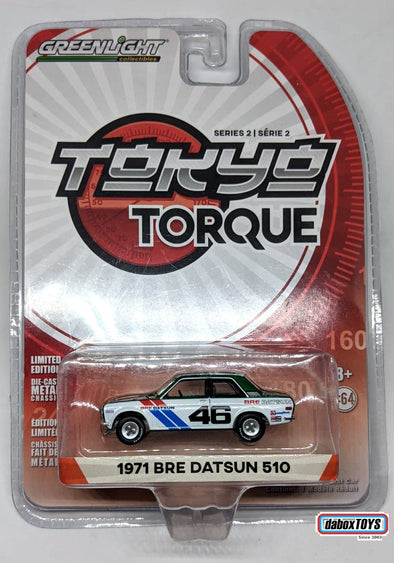 """GREEN MACHINE"" - GreenLight 1/64 Tokyo Torque Series 2 - 1971 Datsun 510 - #46 Brock Racing Enterprises (BRE) - John Morton Solid Pack #29900-C"