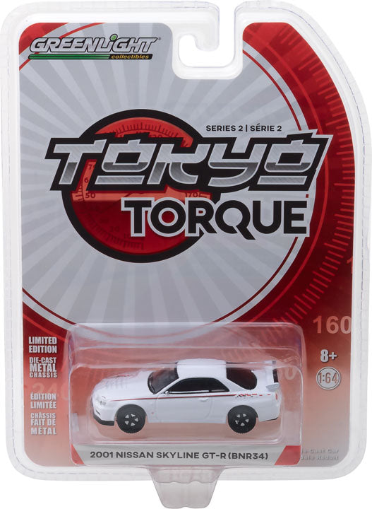 GreenLight 1/64 Tokyo Torque Series 2 - 2001 Nissan Skyline GT-R (R34) - White Pearl Solid Pack #29900-E