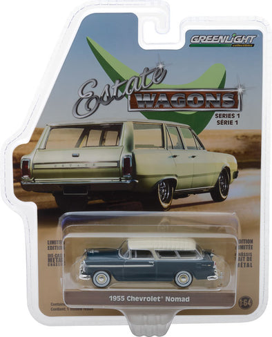 GreenLight 1/64 Estate Wagons Series 1 - 1955 Chevrolet Nomad - Glacier Blue and Shoreline Beige Solid Pack #29910-A