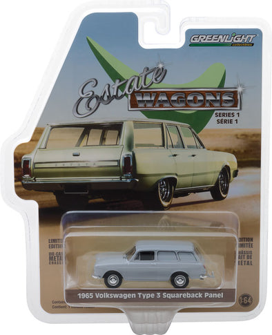 GreenLight 1/64 Estate Wagons Series 1 - 1965 Volkswagen Type 3 Panel Van - Light Grey Solid Pack #29910-C