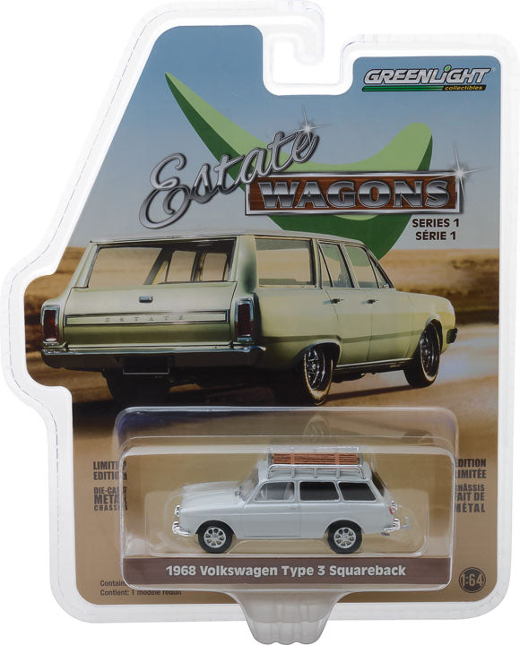 GreenLight 1/64 Estate Wagons Series 1 - 1968 Volkswagen Type 3 Squareback - Lotus White with Roof Rack Solid Pack #29910-D