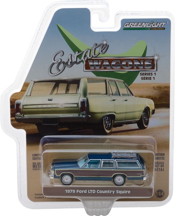 GreenLight 1/64 Estate Wagons Series 1 - 1979 Ford LTD Country Squire - Midnight Blue Solid Pack #29910-E