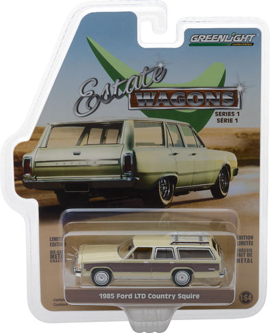 GreenLight 1/64 Estate Wagons Series 1 - 1985 Ford LTD Country Squire - Light Wheat with Wood Paneling Solid Pack #29910-F