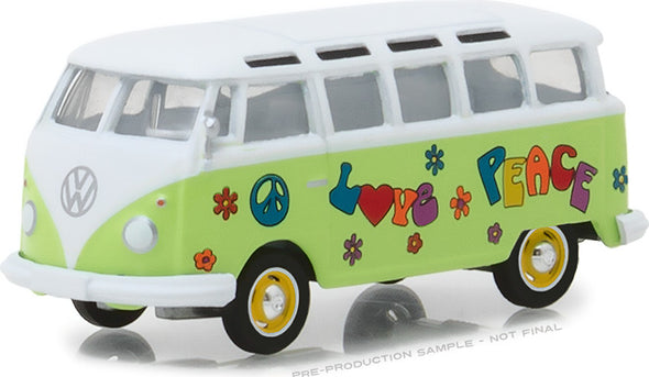 GreenLight 1/64 Club Vee-Dub Series 7 - 1964 Volkswagen Samba Bus - Hippie Peace & Love Solid Pack #29920-C