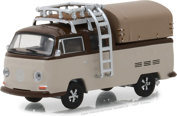GreenLight 1/64 Club Vee-Dub Series 7 - 1969 Volkswagen Type 2 Double Cab Pickup with Roof Rack and Canopy Solid Pack #29920-E