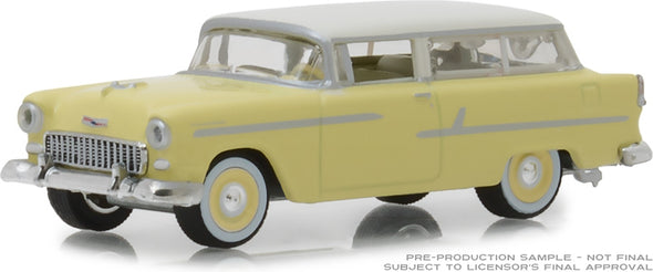 GreenLight 1/64 Estate Wagons Series 2 - 1955 Chevrolet Two-Ten Handyman - Harvest Gold/India Ivory Solid Pack #29930-A