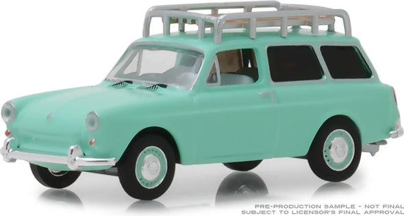 GreenLight 1/64 Estate Wagons Series 2 - 1965 Volkswagen Type 3 Squareback - Birch Green with Roof Rack Solid Pack #29930-C
