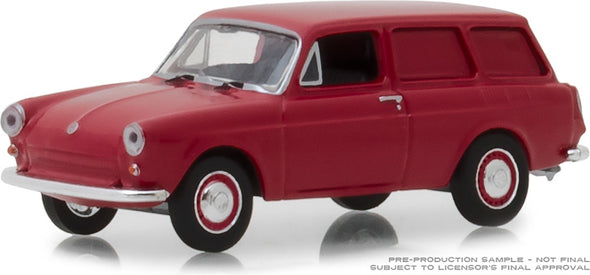 GreenLight 1/64 Estate Wagons Series 2 - 1968 Volkswagen Type 3 Panel Van - Velour Red Solid Pack #29930-D
