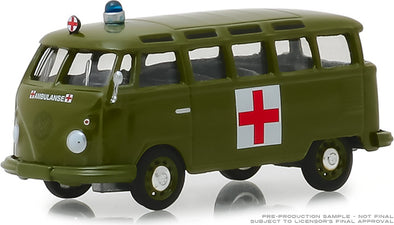 GreenLight 1/64 Club Vee-Dub Series 8 - 1964 Volkswagen Samba Bus Army Ambulance Solid Pack #29940-A