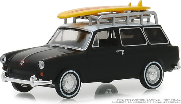GreenLight 1/64 Club Vee-Dub Series 8 - 1965 Volkswagen Type 3 Squareback - Surf Wagon with Roof Rack and Surfboard Solid Pack #29940-B