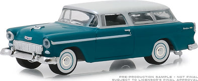 GreenLight 1/64  Estate Wagons Series 3 - 1955 Chevrolet Nomad - Regal Turquoise and India Ivory Solid Pack  #29950-A