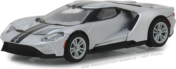 GreenLight 1/64 2017 Ford GT - Ingot Silver with Black Stripes (Hobby Exclusive) #29992