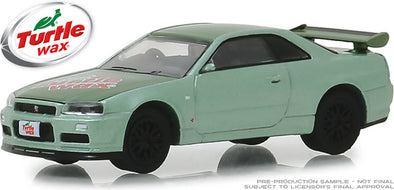 GreenLight 1/64 2000 Nissan Skyline GT-R (R34) - Two-Tone Green - Turtle Wax (Hobby Exclusive) #30017