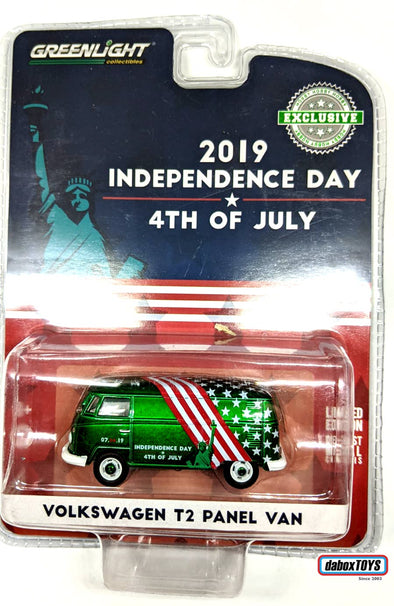 """GREEN MACHINE"" GreenLight 1/64 Volkswagen Type 2 Panel Van - Independence Day 2019 (Hobby Exclusive) #30044"