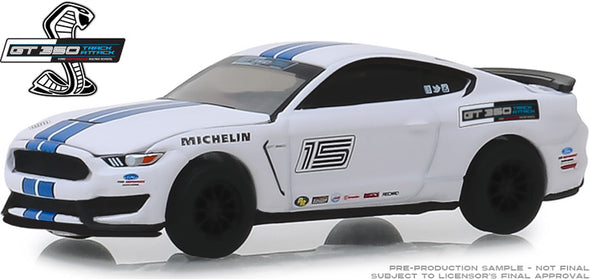 GreenLight 1/64 2016 Ford Mustang Shelby GT350 - Ford Performance Racing School - Oxford White with Blue Stripes (Hobby Exclusive) #30052