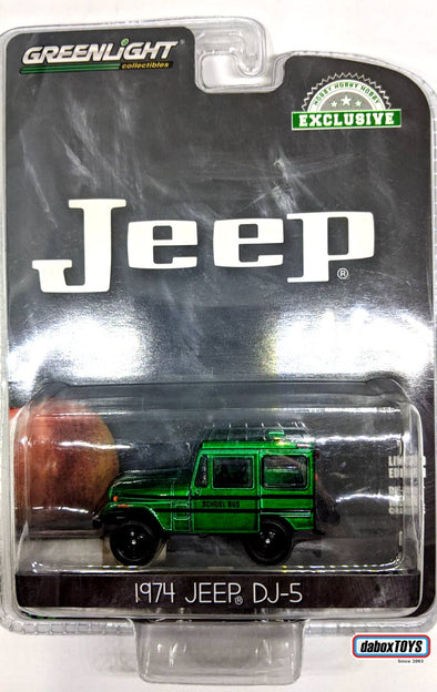 """GREEN MACHINE"" GreenLight 1/64 1974 Jeep DJ-5 School Bus (Hobby Exclusive) #30065"