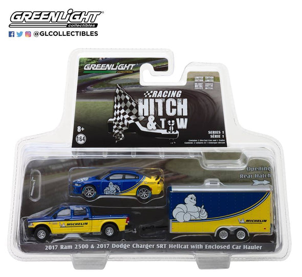 GreenLight 1/64 Racing Hitch & Tow Series 1 - 2017 Ram 2500 & 2017 Dodge Charger Hellcat Michelin Tires with Enclosed Car Hauler Solid Pack #31050-B