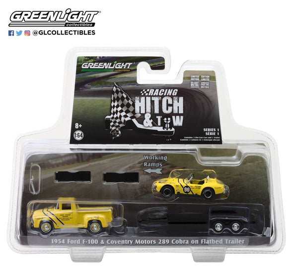 GreenLight 1/64 Racing Hitch & Tow Series 1 - 1954 Ford F-100 and Coventry Motors 289 Cobra Walnut Creek on Flatbed Trailer Solid Pack #31050-A