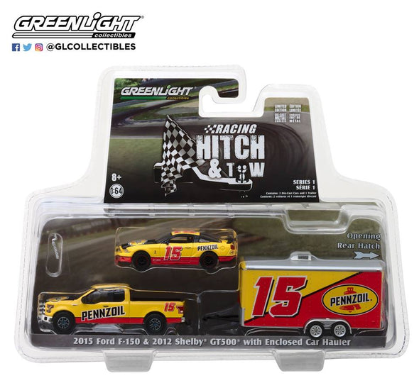 GreenLight 1/64 Racing Hitch & Tow Series 1 - 2015 Ford F-150 & 2012 Shelby GT500 Pennzoil with Enclosed Car Hauler Solid Pack #31050-C