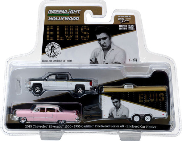 "GreenLight 1/64 Hollywood Hitch & Tow Series 2 - Elvis Presley (1935-77) 2015 Chevy Silverado with 1955 Cadillac Fleetwood Series 60 ""Pink Cadillac"" in Enclosed Car Hauler Solid Pack #31020-A"