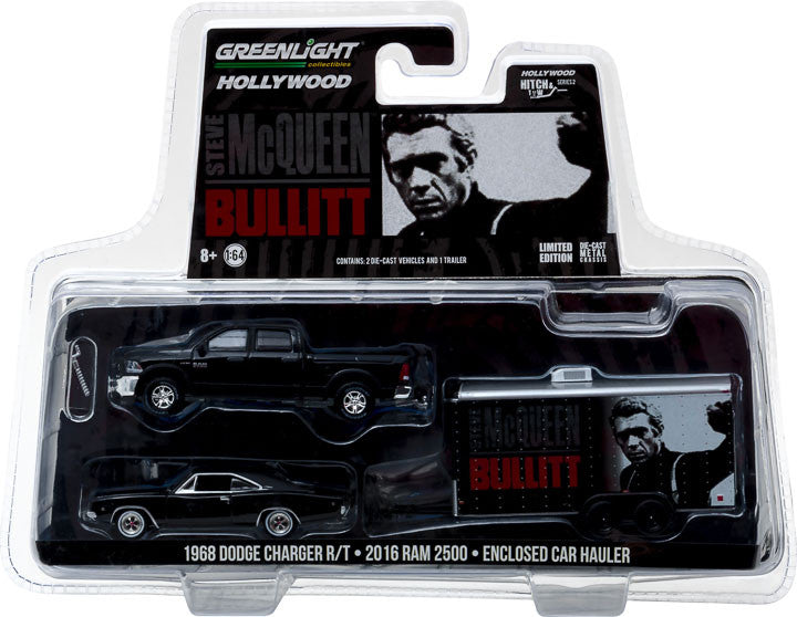 GreenLight 1/64 Hollywood Hitch & Tow Series 2 - Bullitt (1968) 2017 Ram 2500 Power Wagon with 1968 Dodge Charger R/T in Enclosed Car Hauler Solid Pack #31020-B