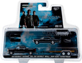 GreenLight 1/64 Hollywood Hitch & Tow Series 2 - Supernatural (TV Series 2005-Current) 2015 Chevy Silverado with 1967 Chevrolet Impala Sport Sedan on Flatbed Trailer Solid Pack #31020-C