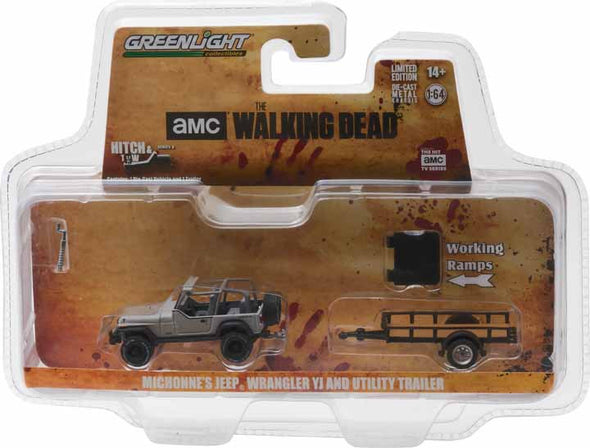 GreenLight 1/64 Hitch & Tow Series 8 - The Walking Dead (2010-Current TV Series) – Michonne's Jeep Wrangler YJ and Utility Trailer   #32080-B