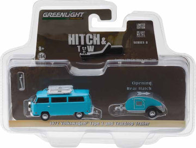 GreenLight 1/64 Hitch & Tow Series 8 - 1972 Volkswagen Type 2 and Teardrop Trailer Solid Pack  #32080-C