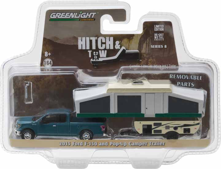 GreenLight 1/64 Hitch & Tow Series 8 - 2015 Ford F-150 and Pop-Up Camper Trailer Solid Pack #32080-D