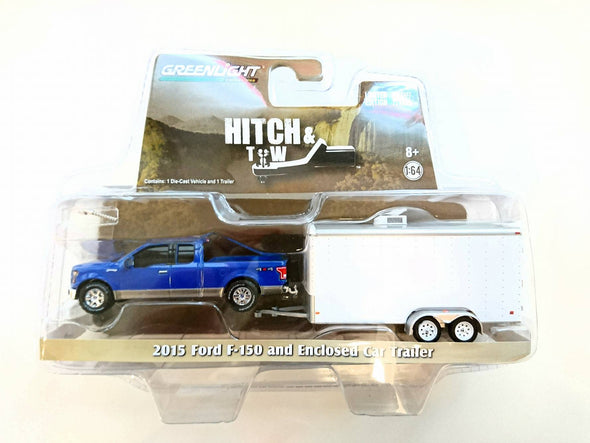 GreenLight 1/64 Hitch & Tow 2015 Ford F-150 and White Car Hauler (Hobby Exclusive) #32091