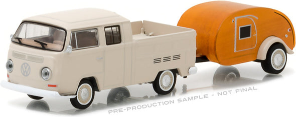 GreenLight 1/64 Hitch & Tow Series 10 - 1968 Volkswagen T2 Type 2 Double Cab Pick-Up with Tear Drop Trailer Solid Pack  #32100-A