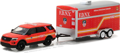 GreenLight 1/64 Hitch & Tow Series 10 - 2016 Ford Explorer Official Fire Department City of New York (FDNY) with FDNY Special Operations Command Trailer Solid Pack #32100-D