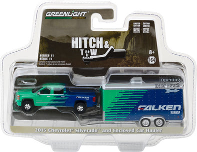GreenLight 1/64 Hitch & Tow Series 11 - 2015 Chevy Silverado Falken Tire and Falken Tire Racing Trailer Solid Pack #32110-B