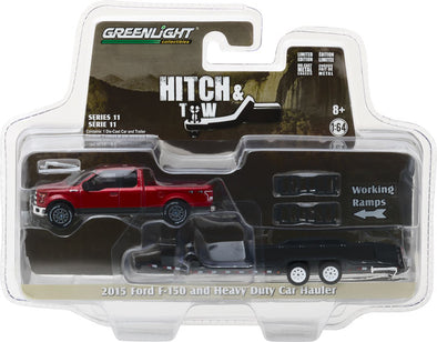 GreenLight 1/64 Hitch & Tow Series 11 - 2015 Ford F-150 and Heavy Duty Car Hauler Solid Pack #32110-C