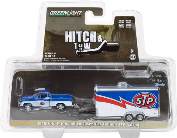 GreenLight 1/64 Hitch & Tow Series 12 - 1970 Ford F-100 STP and STP Racing Trailer Solid Pack #32120-A