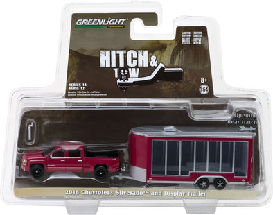 GreenLight 1/64 Hitch & Tow Series 12 - 2016 Chevrolet Silverado and Glass Display Trailer Solid Pack #32120-B