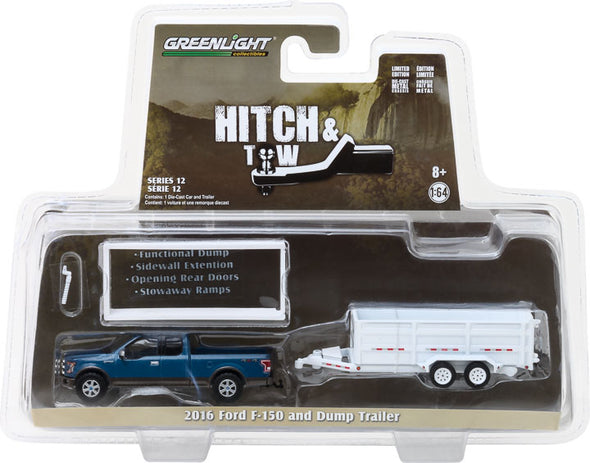 GreenLight 1/64 Hitch & Tow Series 12 - 2016 Ford F-150 and Double-Axle Dump Trailer Solid Pack #32120-C